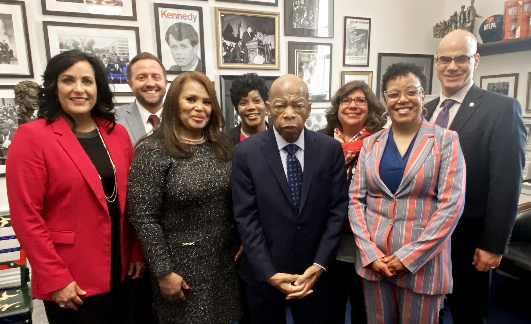 – A Lansing delegation delivers a personal invitation to speak at the 2020 MLK Day luncheon to Rep. John Lewis at his Washington, D.C. office. Pictured front row from left, Nicole Noll-Williams, Elaine Hardy, Lewis and Kelli Ellsworth Etchison; back row, Steven Japinga, Tristan Wright, Kristin Shelley and George Lahanas.