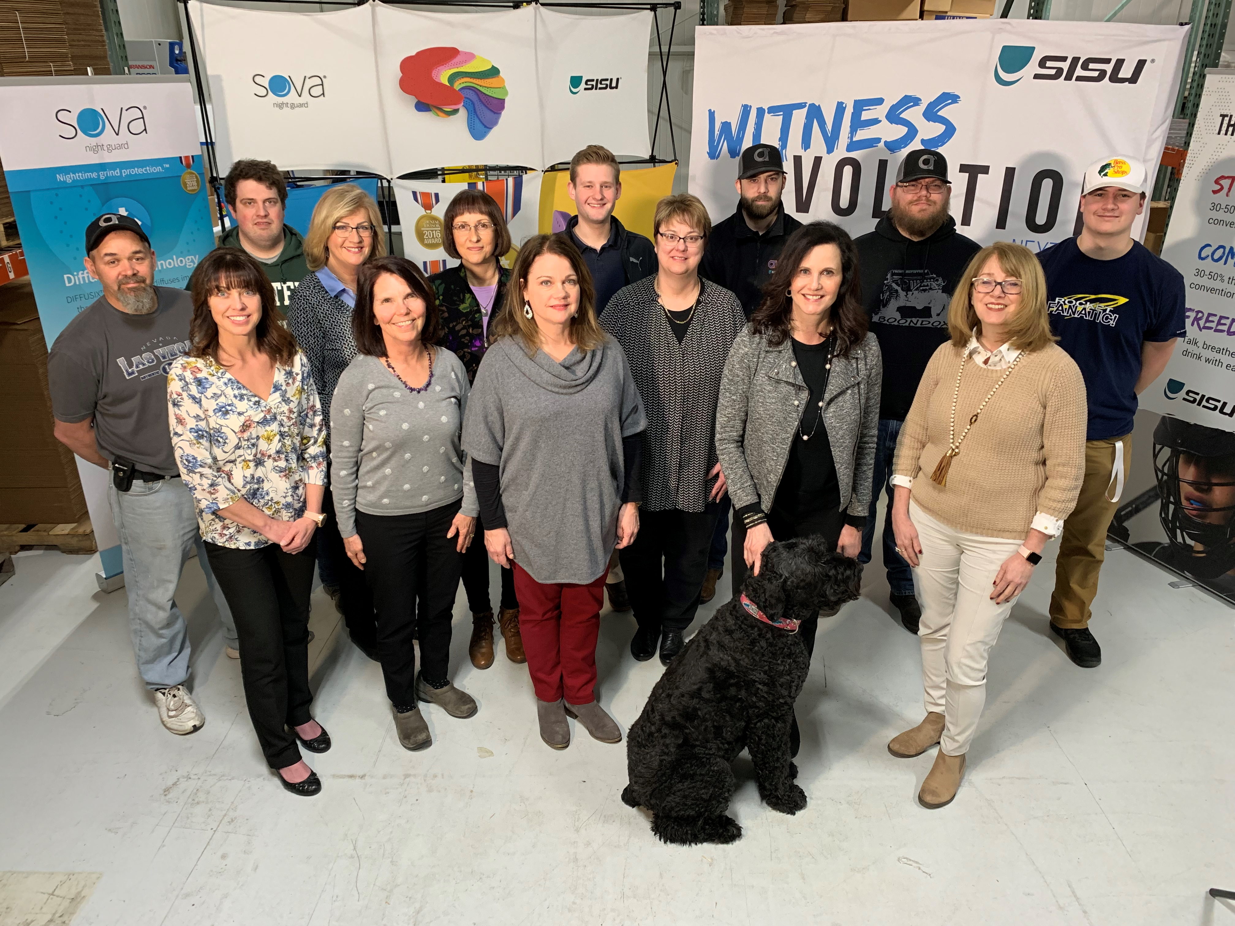 """Akervall-Team-2019.jpg ¬– """"Our company success is the result of the cumulative work of our team. We're not only preserving dental health around the world, but also creating jobs here in Michigan,"""" said Sassa Akervall, CEO, first row, second from right."""