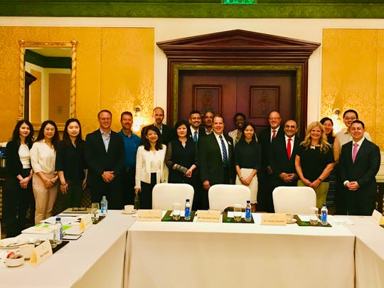 Representatives from the MEDC International Trade team, Automation Alley, AMCHAM, Michigan China Center SelectUSA and Michigan businesses on a trade mission to China and Thailand on Sept. 16, 2019, at Ritz Carlton in Guangzhou. (Photo: MEDC)