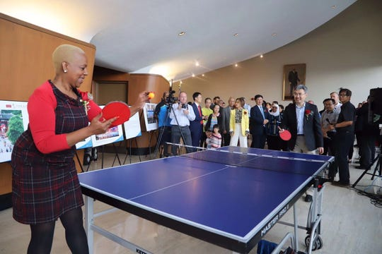 Michigan state Rep. Cynthia Johnson and Chinese Consul General Zhao Jian play table tennis Sept. 13 at the Coleman A. Young Municipal Building as part of Detroit China Day Event held to commemorate the 40th anniversary of diplomatic relations between China and the United States. (Photo: North American China Coalition)